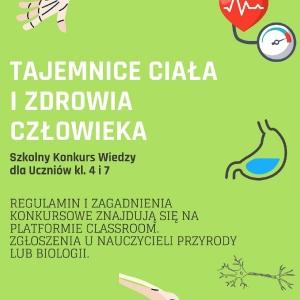 plakat konkurs tajemnice ciala i zdrowia czlowieka